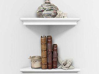 AHDECOR White Corner Wall Shelves  Wall Mounted Floating Corner Shelf for Home Decor  2 Pack