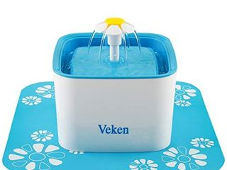 Veken Pet Fountain  84oz 2 5l Automatic Cat Water Fountain Dog Water Dispenser with 3 Replacement Filters   1 Silicone Mat for Cats  Dogs  Multiple Pets  Blue