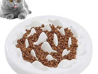 kathson Cat Slow Feeder Bowl  Ceramic Slow Eating Bowl Fun Interactive Feeder Prevent Feeder Anti Gulping Healthy Diet Pet Bowls Against Bloat Indigestion Obesity  White