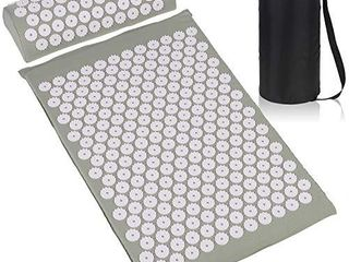 ESUP Acupressure Mat and Pillow Massage Set for Back  Neck  Headaches Muscle Relaxation Sciatic Pain Relief and Trigger Point Therapy  Best Mothers Day Gifts  Gray