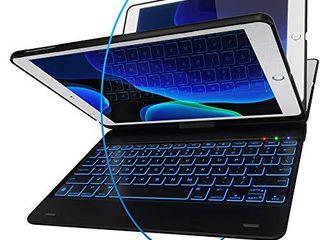 iPad Keyboard Case for iPad 2018  6th Gen    iPad 2017  5th Gen    iPad Pro 9 7   iPad Air 2   1   Thin   light   360 Rotatable   Wireless BT   Backlit 10 Color   iPad Case with Keyboard  Black