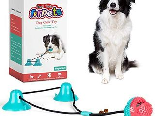 CPFK Dog Chew Double Suction Cup Tug of War Toy Pet Aggressive Chewers Rope Puzzle Toothbrush Multifunction Molar Bite Interactive Squeaky Toys Ball with Teeth Cleaning and Food Dispensing Features