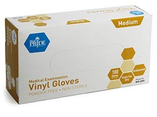 Medpride Medical Vinyl Examination Gloves  Medium  100 Count  latex Free Rubber   Disposable  Ultra Strong  Clear   Fluid  Blood  Exam  Healthcare  Food Handling Use   No Powder