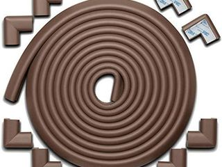 Roving Cove Baby Proofing Edge Corner Protector  Soft Rubber Foam Table Bumper Guard  3M Pre Taped Corners  20 4 ft  18 ft Edge   8 Corners  Coffee Brown  Heavy Duty