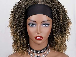 Vigorous Headband Wigs for Black Women Mix Brown Color Short Curly Half Wigs Curly Synthetic Hair Wig Natural looking Curly Headband Wig Heat Resistant Hair for Daily Use Mix Brown