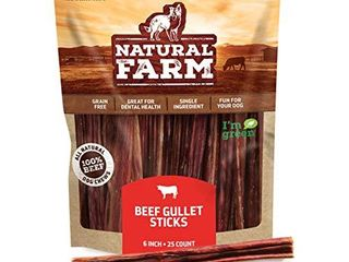 Natural Farm Made and Packaged Gullet Sticks  6 Inch long  25 Pack  One Ingredient Beef Esophagus Chews   Fully Digestible  Promotes Joint   Dental Health  Great for Pup  Small   Senior Dogs