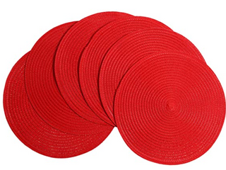 6 RED ROUND PlATE MATS