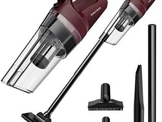 Cordless Vacuum SOWTECH 6 in 1 Cyclonic Suction lightweight Handheld Vacuum Cleaner with Stainless Steel Filter  Bagless  Rechargeable lithium Ion   Red
