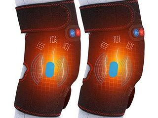 Heated Massage Knee Brace  Adjustable Heated and Massage Knee Heating Pad Thermal Heat Therapy Wrap Hot Compress for Cramps Arthritis Pain Relief Injury Recovery  1 Pair