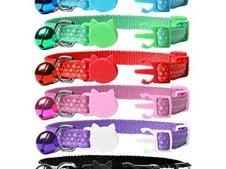 EXPAWlORER Wave Point Adjustable Cat Collars Colorful Nylon Breakaway Safety Pet Collar with Bells Pack of 6