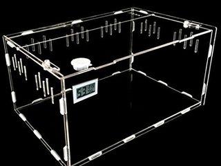Petforu Aquarium Breeding Tank Acrylic Reptile Feeding Box with Temperature Hygrometer  Small