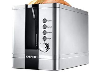 Chefman 2 Slice Pop Up Stainless Steel Toaster w  7 Shade Settings  Extra Wide Slots for Toasting Bagels  Defrost Reheat Cancel Functions  Removable Crumb Tray  850W  120V  Silver