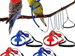 Shappy 4 Pieces Pet Parrot Bird Harness leash Adjustable Bird Flying Harness Traction Rope with Cute Wing for Parrots Pigeons Budgerigar lovebird Cockatiel Mynah Outdoor Training Toy  Red  Blue S