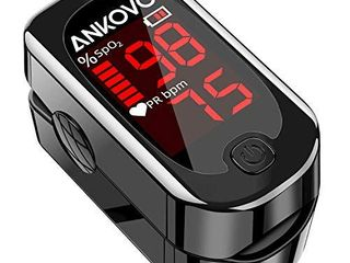 Pulse Oximeter Fingertip  ANKOVO Blood Oxygen Saturation Monitor with Pulse Rate  Heart Rate Monitor  Portable Pulse Ox with 2 Batteries and lanyard  Royal Black