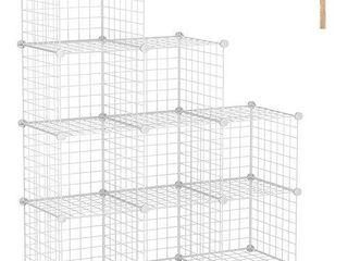 C AHOME Wire Cube Storage Organizer  9 Cube Metal Grids Storage  Storage Bins Shelves  Modular Book Shelf  DIY Closet Cabinet Ideal for living Room  Home  Office 36 6l x 12 4 W x 48 4H White