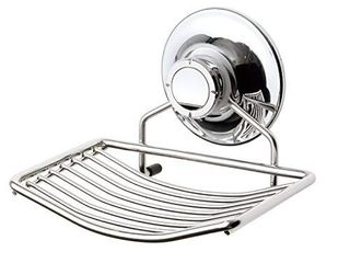 BATHBEYOND Vacuum Suction Cup Soap Dish Holder  Bar Soap Sponge Holder for Shower  Bathroom  Tub and Kitchen Sink   Rust Proof Stainless Steel