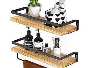 Amada Rustic Floating Shelves Wall Mounted  Solid Paulownia Wood Set of 2 for Kitchen  Bathroom  and Bedroom  Decorative Storage Shelf with Removable Towel Holder  Strong Black Metal Frame AMFS01