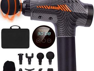 Massage Gun Portable Deep Tissue Muscle Massager Percussion Massager for Athletes Relief Pain 30 Speeds 8 Heads Massager for Home Office Gym Carbon