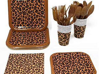 leopard Print Party Supplies Pack  113  Pieces for 16 Guests  leopard Party  Cheetah Print Tableware