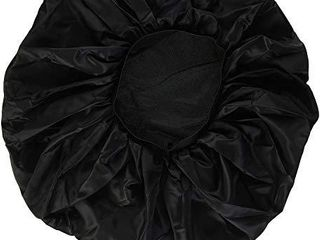 Annie   Ms  Remi Silky Satin Double Cotton lined Day and Night Cap with Comfort Elastic Band  Extra Jumbo  Black