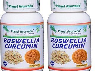 Boswellia Curcumin   2 Bottles  Each 60 Capsules  500mg    Planet Ayurveda in USA