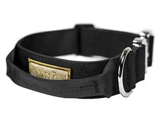 Mighty Paw Tactical Dog Collar   Heavy Duty Pet Training Collar with Built in Handle for Extra Control  Premium Weatherproof Polyester and Durable Metal Buckle for Medium to Extra large K9s  Black
