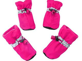 YAODHAOD Dog Boots Paw Protector  Anti Slip Dog Shoesi1 4These Comfortable Soft Soled Dog Shoes are with Reflective Straps  for Small Dog a  6 Pink