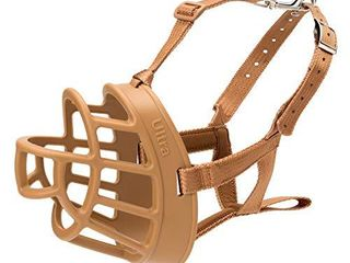 Baskerville Ultra Muzzle  dog muzzle to prevent biting and chewing  humane dog muzzle for small dogs  ideal for mini poodle  westie  jack russell terrier and more  Tan