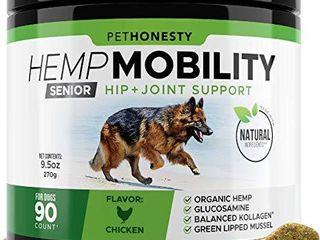Senior Hemp Mobility   Hip   Joint Supplement for Senior Dogs   with Hemp Oil   Hemp Powder  Glucosamine  Collagen  MSM  Green lipped Mussel  Dog Treats Improve Mobility  Reduces Discomfort   Chicken