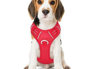BARKBAY No Pull Dog Harness Front Clip Heavy Duty Reflective Easy Control Handle for large Dog Walking with ID tag Pocket Red M