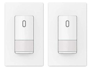 ElEGRP Occupancy Sensor light Switch  PIR Infrared Motion Activated Wall Switch  No Neutral Wire Required  Single Pole for CFl lED Incandescent  Wall Plate Included  Ul listed  2 Pack  Matt White