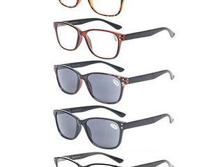 Reading Glasses 5 Pack Quality Readers Spring Hinge Prime Black Designer Trendy for Men and Women