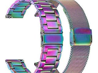 Colorful Watchband Sets for Samsung Galaxy Watch 42mm   Active 2 40mm 44mm  TRUMiRR 20mm 2 Pack Solid Stainless Steel Band   Mesh Woven Strap Quick Release Wristband for Garmin Vivoactive 3 Ticwatch E