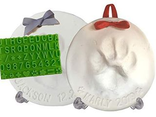 Ultimate Pawprint Keepsake Kit  Makes 2    Paw Print Christmas Ornament w  Bonus Personalization Tool   Display Stands  For Dogs  Cats   Pets  Non toxic  Clay Air Dries Soft  light   Uncrackable