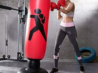 Inflatable Free Standing Punching Bag  Heavy Training Bag  Adults Teenage Fitness Sport Stress Relief Boxing Target  Red