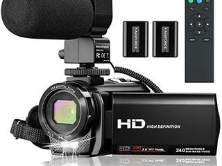 Video Camera Camcorder Full HD 1080P 30FPS 24 MP YouTube Camera Recorder 16X Zoom 3 0 Inch 270 Rotation IPS Screen Digital Vlogging Camera Camcorders with Microphone  Remote  2 Batteries