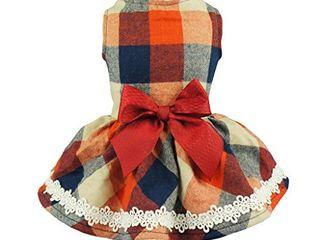 Fitwarm Christmas Elegant lace Plaid Dog Dress for Pet Clothes Shirts Apparel  Medium
