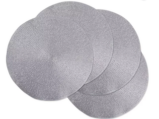 Round Dinner room Place Mats Gray Set Of 4