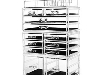 HBlife Makeup Organizer Acrylic Cosmetic Storage Drawers and Jewelry Display Box with 12 Drawers  9 5  x 5 4  x 15 8  4 Piece