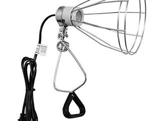 Simple Deluxe Clamp lamp light with Steel Cage Wire Grillup To 250W E26 Socket  No Bulb Included  6  Cord  Silver
