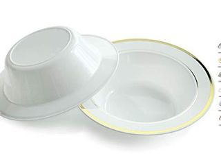 OCCASIONS 120 Bowls Pack  Heavyweight Disposable Wedding Party Plastic Dessert Ice Cream Bowls  6 oz Ice cream bowls  White   Gold Rim