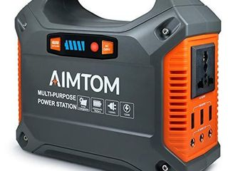 AIMTOM 42000mAh 155Wh Power Station  Emergency Backup Power Supply with Flashlights  Solar Panel Optional  for Camping  Home  CPAP  Travel  Outdoor  110V  100W AC Outlet  3X 12V DC  3X USB Output