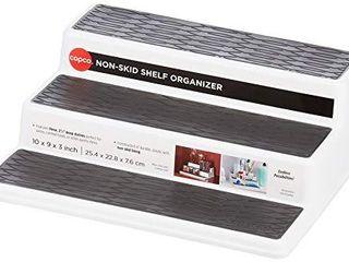 Copco 2555 0189 Non Skid 3 Tier Spice Pantry Kitchen Cabinet Organizer  10 Inch  White Gray