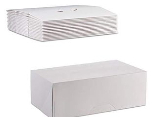 White Kraft Paperboard Auto Popup 1 Piece Donut Bakery Box 10  length x 6 5  Width x 3 5  Height by MT Products  Pack of 15