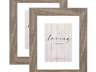 YOUNG POONG 8x10 Rustic Picture Frame 2 Pack for Table Top Display and Wall Mounting Photo Frame Grey