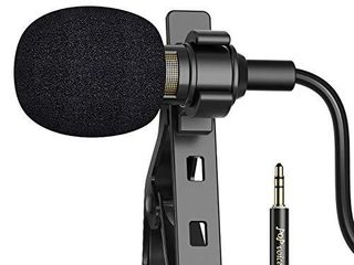 PoP voice 16 Feet Single Head lavalier lapel Microphone Omnidirectional Condenser Mic for iPhone Android   Windows Smartphones  YouTube  Interview  Studio  Video Recording  Noise Cancelling Mic