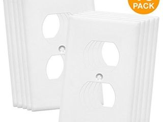 ENERlITES Duplex Outlet Cover  Size 1 Gang 4 50  x 2 76  Unbreakable Polycarbonate Thermoplastic  8821 W 10PCS  White  10 Pack
