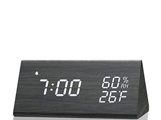 Digital Alarm Clock  with Wooden Electronic lED Time Display  3 Alarm Settings  Humidity   Temperature Detect  Wood Made Electric Clocks for Bedroom  Bedside  Black