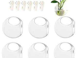 GEOlUX 6 Pack Wall Hanging Planters Glass Terrariums   Round Air Plants Wall Containers Succulents Globe Orbs  4 7 x 4 7 Inches