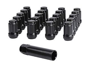 Dynofit 12x1 25 lug Nuts for Aftermarket Wheels  20pcs 6 Spline Point 12mmx1 25 lugnuts Tuner Conical Cone Seat Rims with 19mm 21mm Hex Socket Key